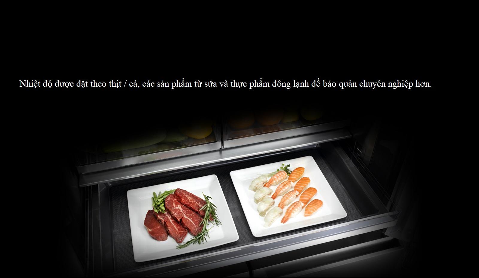 Nhiệt độ có thể được đặt theo thịt / cá, các sản phẩm từ sữa và thực phẩm đông lạnh để bảo quản chuyên nghiệp hơn.